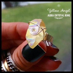 🔴SALE ! Yellow angel aura crystal wire wrap ring